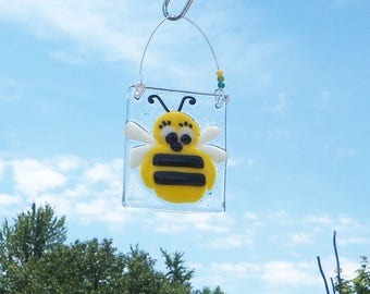 Bumble Bee // Fused GLass Suncatcher // Whimsical // Colorful // Cute // Fun // Art // Small // Honey  // Sun Catcher // Silly // Adorable