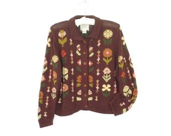 Folk Floral Sweater * Vintage Cardigan * Folk Cardi * Cotton Cardigan * Medium
