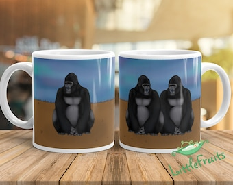 Gorilla Kids Mug - Cute Wild Animal Drinking Cup - Gift for Twins, Kids, Siblings, Big Sister and Brother - Expecting Parents Baby Shower Gi