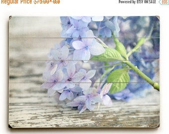 Wood Plank Art, Blue Hydrangea Wall Art, Hydrangea Photography, Flower Photo on Wood, Wood Sign, Cottage Chic Decor, Floral Decor