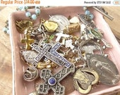 Sale 30% Off Religious, Cross, Saint, Vintage Jewelry Destash Lot. Cross Findings.  Vintage Pendants. Charms. Blue Glass Rosary D171