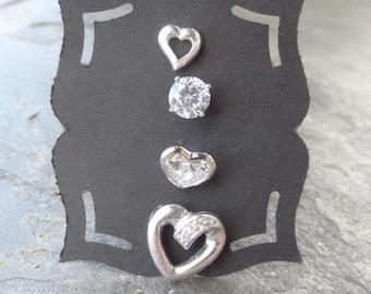 Vintage Sterling Studs - Sterling - Mis matched Earrings - Single - Post Earrings - Heart Studs - Rhinestone Hearts - Post Earrings