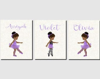 Sisters Wall Art, Ballerina Wall Art, Toddler Girls Room Decor, Purple, African American Girls, Purple, Dancers, Set of 3, Prints or Canvas