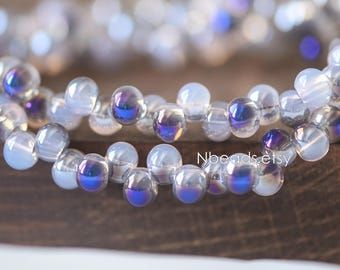 Crystal Glass Smooth Seed Beads 6mm, Sparkly Opal Blue Purple (GM018-8)/ 95 beads full strand