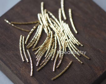 20pcs Gold plated Brass Tube Beads,  29mm Long by 1.4mm Wide, Metal Tube Spacer Beads (GB-046-3)