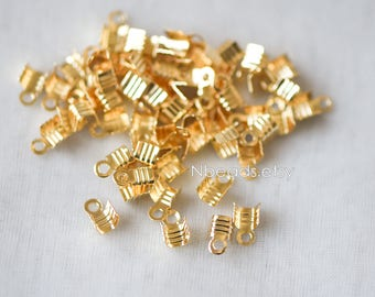 50pcs Gold Cord End Tips, Leather Hemp End Caps 6x3mm, Gold plated Brass End Connector (GB-132)