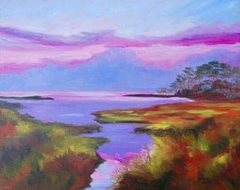 16 X 20 Modern Impressionist South Carolina Marsh Original Oil Landscape by Rebecca Croft