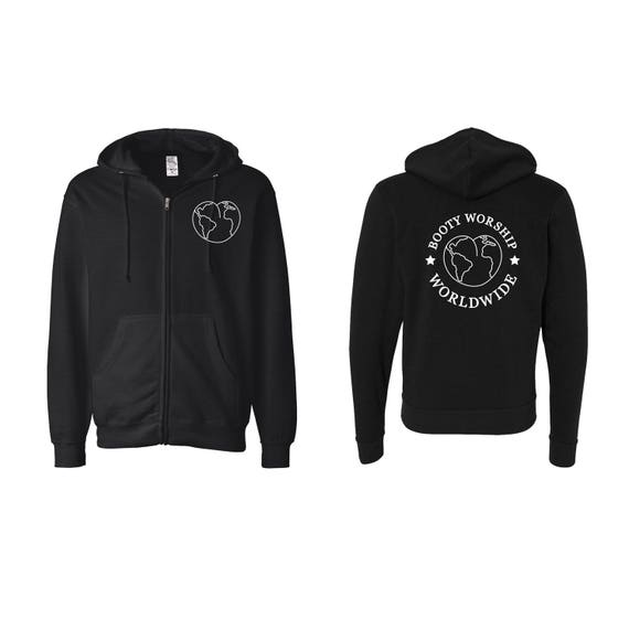 Booty Worship Worldwide Club Zip Up Hoodie. Butts Globe Earth Sweater.
