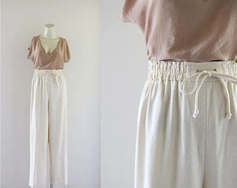 ON SALE raw silk ivory trousers