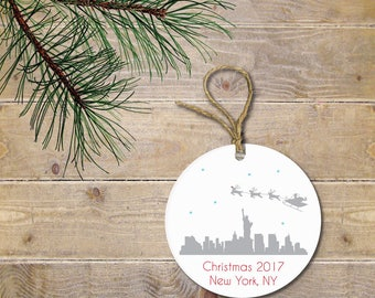 New York City Christmas Ornament, NYC Christmas Ornament, Santa, Reindeer, Personalized Christmas Ornament, Christmas Ornaments, New York