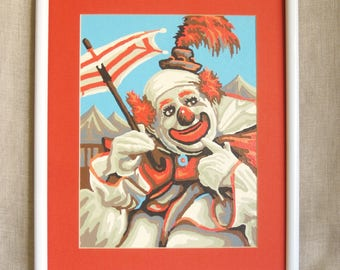 Vintage Clown Paint By Number, Red White and Blue, Hand Painted, Circus, Wall Decor, Umbrella, Parade, Kids Room, Happy Clowns, Handmade,Art