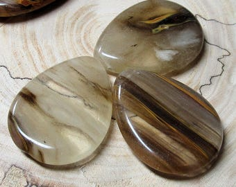 Cherry Quartz Beads 40 x 30mm Chocolate and White Striated Teardrop Briolette Pendant - 3 Piece OOAK