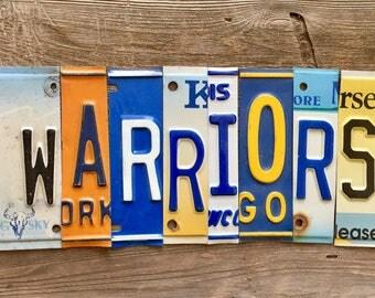 WARRIORS upcycled license plate art sign tomboyART tomboy