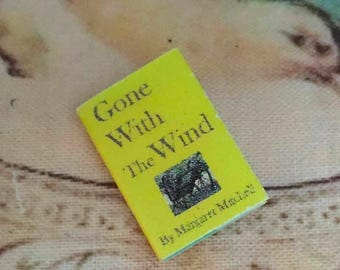 """SALE Miniature Book, """"Gone With The Wind"""", Printed Inside Pages, Dollhouse Miniature, 1:12 Scale, Mini Book, Book With Text"""