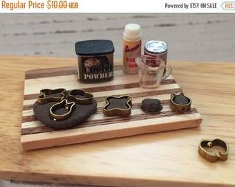 LD SALE Miniature  Baking Set, Chocolate Cookie Baking Set, Cookie Cutters, Prep Board, Dollhouse Miniature, 1:12 Scale, Baking Cookies
