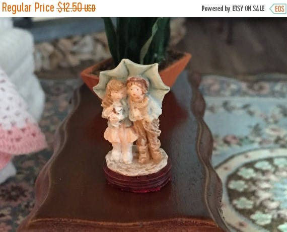 ON SALE Miniature Dollhouse Figurine, Boy & Girl Under Umbrella, Dollhouse Miniature, 1:12 Scale, Miniature Knick Knack, Decor, Collectible