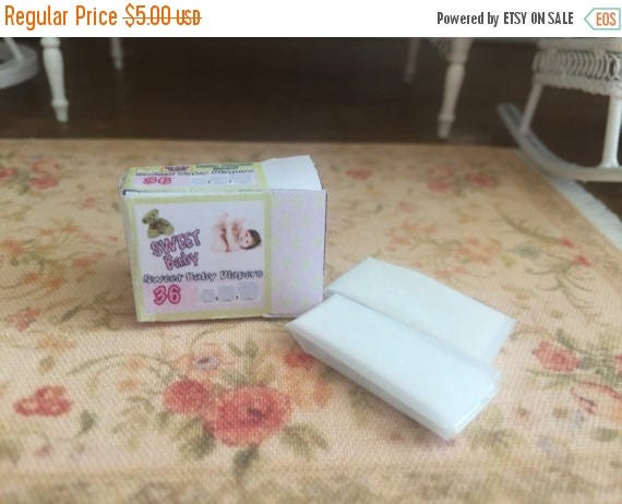 ON SALE Miniature Baby Diapers, Dollhouse Miniatures, 1:12 Scale, Dollhouse Nursery, Dollhouse Accessories, Mini Diapers and Filled Diaper B