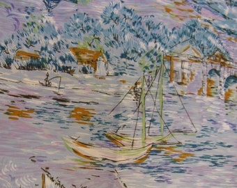 """Vintage 1950s or 60s Abstract Sailing in the Countryside Fabric, Impressionistic, Lavender and Blue, 44"""" x 100 or Almost 3 YDs"""