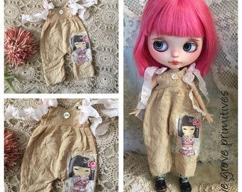Blythe doll tattered overalls vintage style kimmi doll  fabric and lace handmade by Olive Grove Primitives