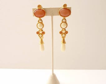 NEW  Vintage Satin Gold Dangling Earrings with Rose Quartz and Bone Cabochons 3.5 Inches Statement Earrings by Lazuli