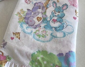Vintage 1980s Rare Care Bears Cousins Twin Flat Sheet