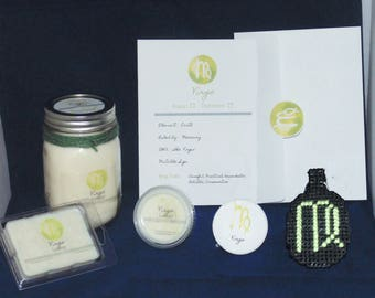 Zodiac Gift Set, VIRGO , Sign Set, 16oz Candle, Soy Waxmelts, Astrology Gift, Keychain, Button, Constellation, THE VIRGIN
