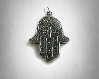 hamsa 925 Sterling silver Filigree FATIMA HAND pendant  necklace chain Protection Luck symbol