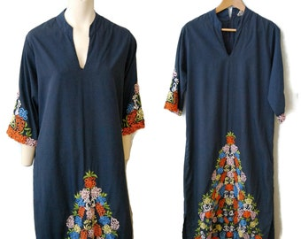 Vintage Embroidered Kaftan Maxi Dress Navy Blue Caftan Tunic with Colorful Floral Embroidery VNeck with Sleeves Size Medium Bohemian Boho