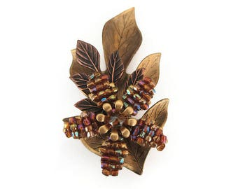 Cara Stimmel Leaf Brooch - Autumn Leaf, Glass Beads, Brass Gold Tone, Beaded, Artisan Jewelry, Vintage Brooch, Vintage Jewelry