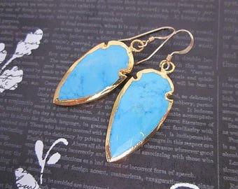 Blue Gem & Gold Earrings -- Bright Blue Dangle Earrings -- Teal Blue Gemstone Earrings -- Gemstone Protection Earrings -- Blue Magnesite
