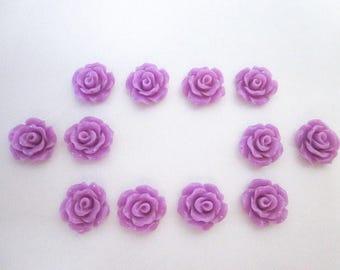 Pink Purple Cabochon -- Pink Purple Cabochon Supply -- Pink Purple Flower Craft Supply -- Pink Purple Rose Craft -- Little Purple Flowers