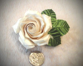 white ivory origami rose brooch