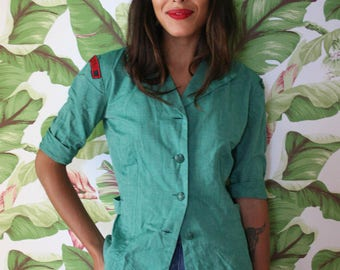 Girl Scout Shell / 1950's Girl Scout Blouse with Patches / Great Rivers /