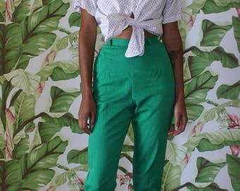 1950's Cigarette Pants / Kelly Green Cotton Fifties Slacks / Casual late fifties early Sixties Summer Pants / Size Small Pants Bottoms