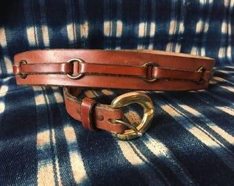"""26-28"""" Waist Belt / Vintage Leather Belt / Statement Belt / Bronze Tone Hardware"""