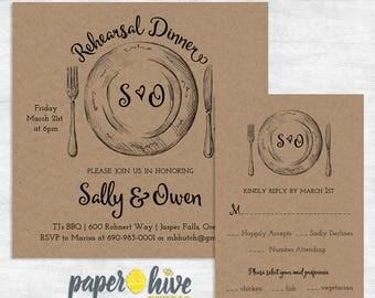 Rustic Rehearsal Dinner Invitation and RSVP card / kraft paper wedding invitation / printable invitations / printed invites