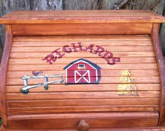 Bread box with red barn hay stack and white fence customized with family name