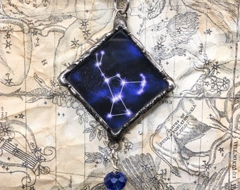 Orion Constellation Pendant with Crystal Bead Drop