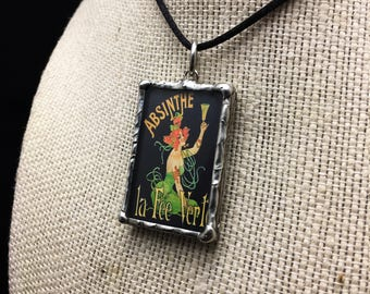Soldered Glass Pendant with antique, Art Nouveau absinthe poster art and quote from Oscar Wilde