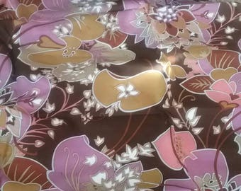 Big Purple Floral Silky Vintage Fabric Yardage