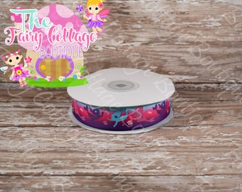 Mermaids on Multicolored  7/8 inch Ribbon