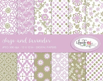 65%OFF SALE Sage and lavender digital papers, scrapbook papers and backgrounds, commercial use patterned scrapbook paper, P146