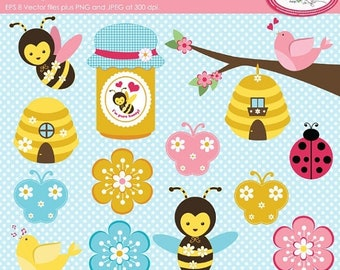 50%OFF Bee clipart, spring clipart, spring bees vector clipart, honey bee clipart, bugs clipart, beehive clipart, commercial use, P227