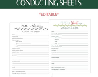 2018 Mutual Theme-Editable Conducting Sheets-Peace in Christ-Young Women-Instant Download Printable-LDS-Presidency-Mormon