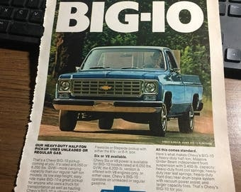 1976 Chevy Big Ten fleetside ad. 8 x 11.