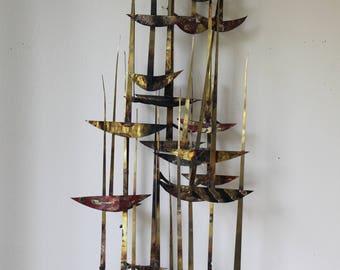 Mid Century Modern, Metal Wall Art, Sail Boats, Abstract, Gold, Copper, Brass, Curtis Jere Era