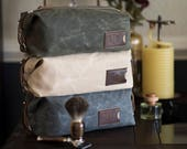 Waxed Canvas Men's Dopp Kit: Personalized, Expandable, Hanging Toiletry Bag, Travel - No. 345 (Made in the USA) FREE Domestic SHIPPING