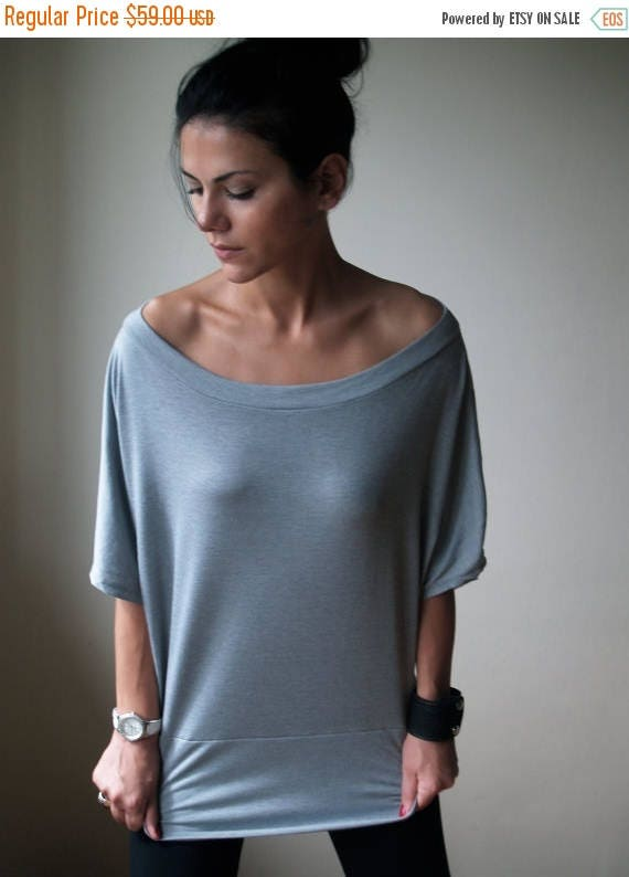 15% SALE Slouchy Oversized Off Shoulder Top - MB041