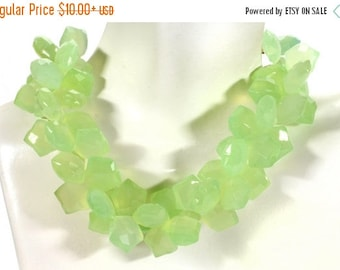 ON SALE Lime Green Chalcedony Star Beads Faceted Star Shaped Briolettes Earth Mined Gemstone - 5, 10, or 15 Briolettes - About 12x12mm