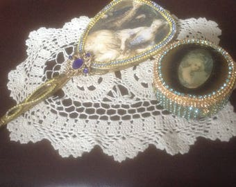 Jeweled hand mirror in yellow and blue with image of Victorian couple,  with trinket jar,  altered